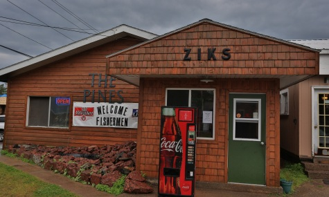 a ceder sided building with signs that read the Pines and Ziks